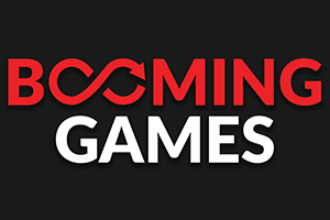 Booming Games - Red and white logo with black background