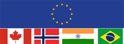 Flags EU, Canada, India, Brazil and Norway