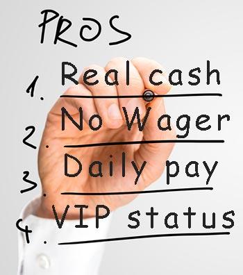 Four advantages with cashback bonuses