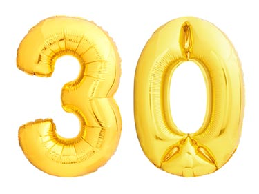 Number 30 with Gold Ballons