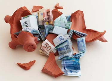 Broken Buggy Bank with Euros all around